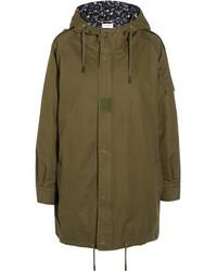 Saint Laurent Hooded Cotton And Ramie Blend Gabardine Parka Army Green