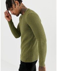 ASOS DESIGN Muscle Fit Waffle Textured Jumper In Khaki