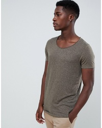 ASOS DESIGN Longline T Shirt With Raw Scoop Neck And Curve Hem In Linen Mix In Khaki