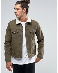 Asos Slim Denim Jacket In Khaki With Fleece Collar