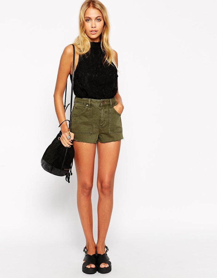 Asos Collection Denim Khaki Utility Patch Pocket Short | Where to ...