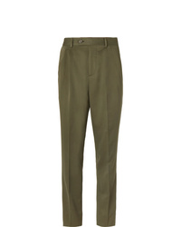 Brunello Cucinelli Army Green Slim Fit Pleated Wool And Cotton Blend Twill Suit Trousers