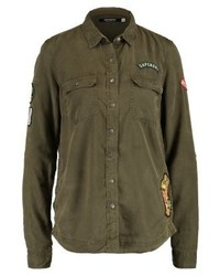 Patched military shirt vine khaki medium 3937340
