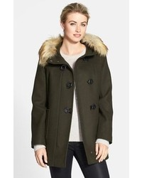 Kristen Blake Faux Fur Trim Hooded Wool Blend Duffle Coat