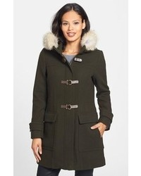 Trina Turk Genuine Coyote Fur Trim Wool Blend Duffle Coat