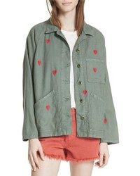 Olive Embroidered Military Jacket