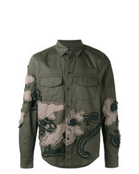 Olive Embroidered Shirt Jacket