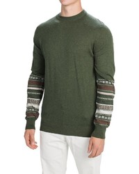 Olive Fair Isle Crew-neck Sweater