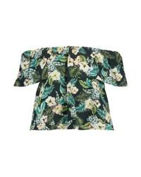 Topshop Hawaiian Magie Print T Shirt Dark Green