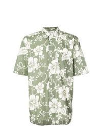 Olive Floral Short Sleeve Shirt