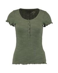 Hollister Co. Slim Henley Basic T Shirt Green