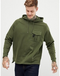ASOS DESIGN Oversized Hoodie With Stepped Hem And Cargo Pocket