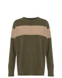 Olive Horizontal Striped Crew-neck Sweater