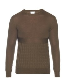 Olive Knit Crew-neck Sweater
