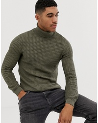 ASOS DESIGN Muscle Fit Cable Roll Neck Jumper In Khaki