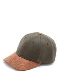 Olive Leather Baseball Cap