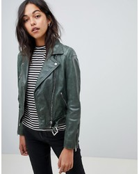 LAB LEATHER Biker Jacket In Green