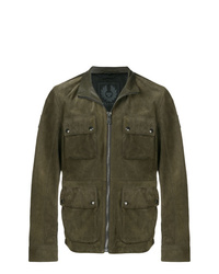 Olive Leather Field Jacket