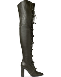 Jimmy Choo Maloy Leather Over The Knee Boots Army Green