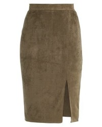 Missguided Thigh Split Pencil Skirt Khaki