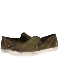 Olive Leather Slip-on Sneakers