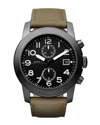 Marc by Marc Jacobs Larry Chronograph Leather Strap Watch Black Olive