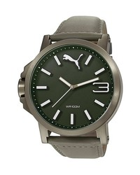 Puma Ultrasize Round Leather Strap Watch 50mm Grey Olive Green
