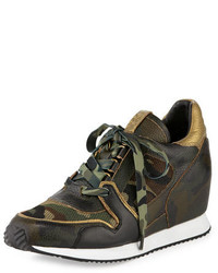 Olive Leather Wedge Sneakers