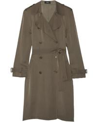 Laurelwood silk crepe de chine trench coat army green medium 696907