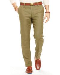 Olive Linen Dress Pants