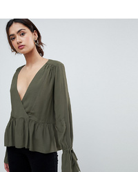 Asos Tall Asos Design Tall Oversized Wrap Blouse With Dip Hem