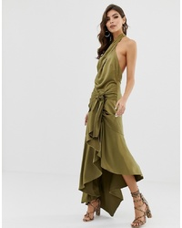 ASOS DESIGN Sash Side Midi Dress In Satin