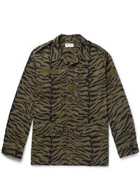 Saint Laurent Printed Cotton And Ramie Blend Field Jacket
