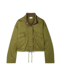 Current/Elliott The Cropped Infantry Cropped Cotton Blend Jacket