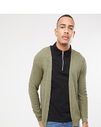 ASOS DESIGN Tall Lightweight Cable Cardigan In Khaki