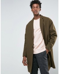 Asos Wool Mix Overcoat With Drop Shoulder In Army Green