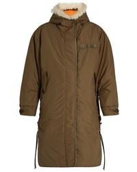 Rag & Bone Billow Shearling Trimmed Hooded Lace Up Parka
