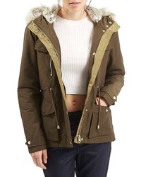 Topshop Jaxson Short Hooded Parka With Faux Fur Trim