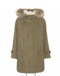 Saint Laurent Cotton And Linen Parka With Fur Trimmed Hood