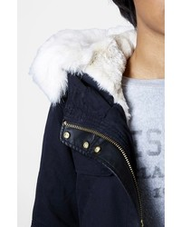 Topshop Walter Hooded Cotton Parka With Faux Fur Trim | Where to ...