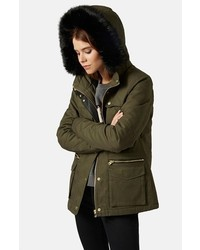 Topshop Walter Hooded Cotton Parka With Faux Fur Trim