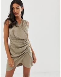 ASOS DESIGN Sleeveless Ruched Jacquard Mini Dress