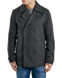 Charcoal slim fit wool blend peacoat medium 350494
