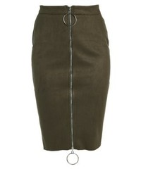 Missguided Pencil Skirt Khaki