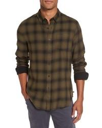 Olive Plaid Flannel Long Sleeve Shirt