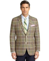 Olive Plaid Wool Blazer