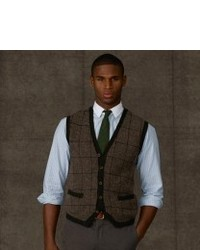 Olive Plaid Wool Waistcoat