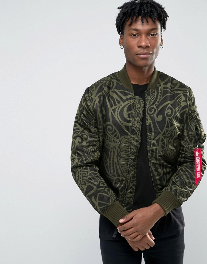05f619d658c ... Alpha Industries Ma 1 Bomber Jacket With All Over Print In Slim Fit  Dark Green ...
