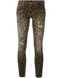 R 13 R13 Leopard Print Skinny Jeans