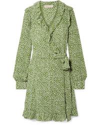 MICHAEL Michael Kors Ruffled Printed Washed Silk Wrap Mini Dress